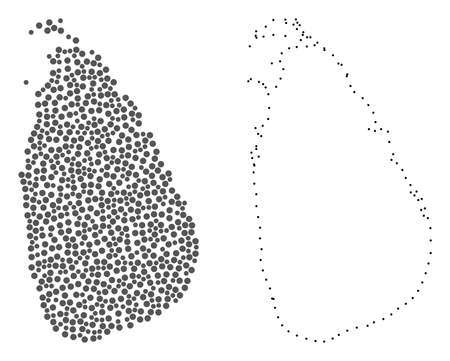 Ilustración de Dot and Frame map of Sri Lanka formed with dots. Vector grey abstraction of map of Sri Lanka. Connect the dots educational geographic drawing for map of Sri Lanka. - Imagen libre de derechos