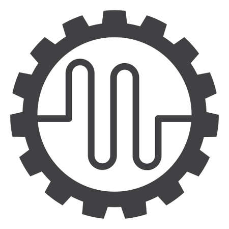 Photo pour Pipe service cog icon on a white background. Isolated pipe service cog symbol with flat style. - image libre de droit
