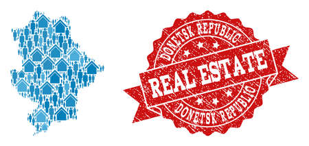 Ilustración de Real Estate collage of blue mosaic map of Donetsk Republic and unclean seal stamp. Vector red seal with scratched rubber texture. - Imagen libre de derechos