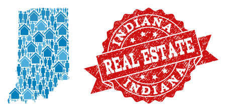 Ilustración de Real Estate collage of blue mosaic map of Indiana State and dirty seal stamp. Vector red seal with grunge rubber texture. Mosaic map of Indiana State constructed with realty and men. - Imagen libre de derechos