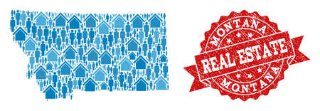 Ilustración de Real Estate collage of blue mosaic map of Montana State and rubber seal stamp. Vector red seal with distress rubber texture. Mosaic map of Montana State designed with homes and people. - Imagen libre de derechos