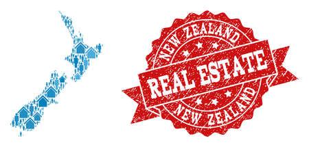 Ilustración de Real Estate collage of blue mosaic map of New Zealand and rubber seal stamp. Vector red watermark with unclean rubber texture. Mosaic map of New Zealand designed with homes and population. - Imagen libre de derechos