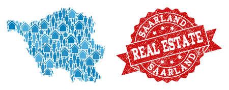 Ilustración de Real Estate combination of blue mosaic map of Saarland State and unclean seal. Vector red seal with grunge rubber texture. Mosaic map of Saarland State designed with realty and persons. - Imagen libre de derechos