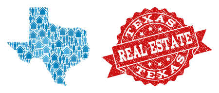 Ilustración de Real Estate collage of blue mosaic map of Texas State and unclean seal. Vector red seal with scratched rubber texture. Mosaic map of Texas State constructed with houses and men. - Imagen libre de derechos