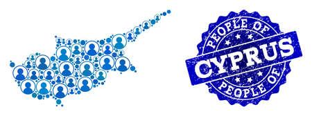 Ilustración de People composition of blue population map of Cyprus Island and corroded seal. Vector seal with grunge rubber texture. Mosaic map of Cyprus Island constructed with rounded users. - Imagen libre de derechos