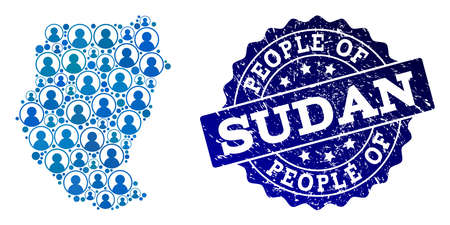 Ilustración de People composition of blue population map of Sudan and corroded seal. Vector seal with corroded rubber texture. Mosaic map of Sudan constructed with rounded users. Flat design for political posters. - Imagen libre de derechos