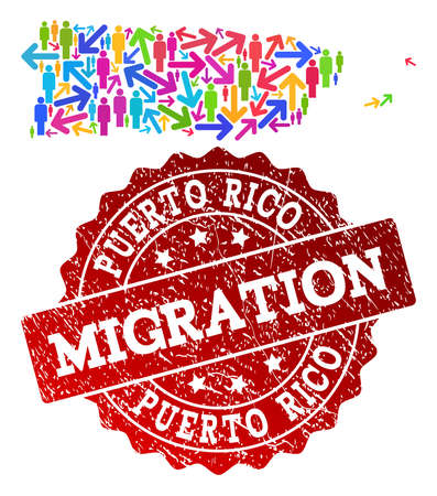 Ilustración de People migration traffic combination of mosaic map of Puerto Rico and corroded seal stamp. Mosaic map of Puerto Rico is constructed with different bright colored arrows and men. - Imagen libre de derechos