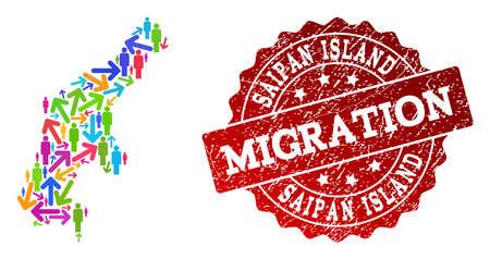 Ilustración de People migration traffic combination of mosaic map of Saipan Island and rubber seal. Mosaic map of Saipan Island is designed with multidirectional colorful arrows and people. - Imagen libre de derechos
