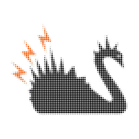 Ilustración de Black danger swan halftone dotted icon. Halftone array contains circle points. Vector illustration of black danger swan icon on a white background. - Imagen libre de derechos