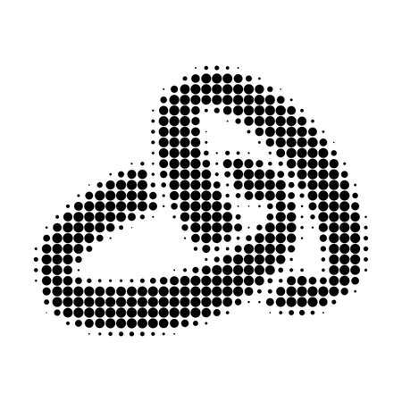 Ilustración de Wedding rings halftone dotted icon. Halftone pattern contains circle pixels. Vector illustration of wedding rings icon on a white background. - Imagen libre de derechos
