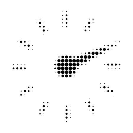 Ilustración de Clockface halftone dotted icon. Halftone array contains circle dots. Vector illustration of clockface icon on a white background. - Imagen libre de derechos