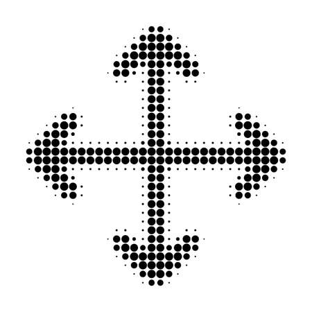 Ilustración de Expand arrows halftone dotted icon. Halftone array contains circle points. Vector illustration of expand arrows icon on a white background. - Imagen libre de derechos