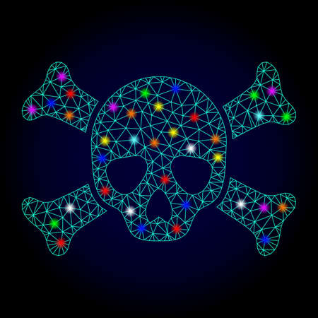 Ilustración de Glossy polygonal mesh death skull icon with glare effect on a dark background. Carcass death skull iconic vector with glamour multi colored spheres for New Year purposes. - Imagen libre de derechos