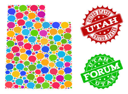 Ilustración de Social network map of Utah State and grunge stamp seals in red and green colors. Mosaic map of Utah State is composed with comment clouds. Abstract design elements for social network projects. - Imagen libre de derechos