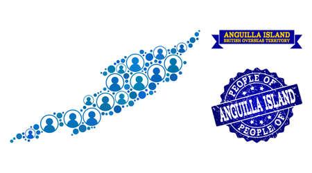 Ilustración de People combination of blue population map of Anguilla Island and rubber stamp. Vector seal with scratched rubber texture. Mosaic map of Anguilla Island constructed with rounded users. - Imagen libre de derechos