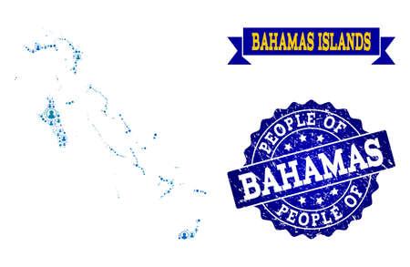 Ilustración de People composition of blue population map of Bahamas Islands and unclean seal stamp. Vector watermark with unclean rubber texture. Mosaic map of Bahamas Islands designed with rounded users. - Imagen libre de derechos