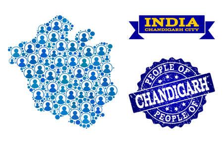 Ilustración de People collage of blue population map of Chandigarh City and grunge seal stamp. Vector imprint with grunge rubber texture. Mosaic map of Chandigarh City designed with rounded users. - Imagen libre de derechos