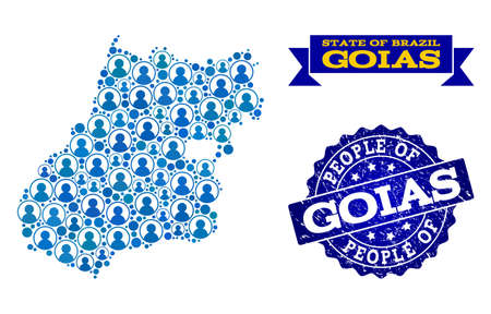 Ilustración de People combination of blue population map of Goias State and grunge seal. Vector seal with grunge rubber texture. Mosaic map of Goias State constructed with rounded users. - Imagen libre de derechos