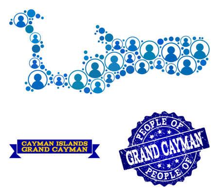 Ilustración de People composition of blue population map of Grand Cayman Island and rubber stamp. Vector watermark with grunge rubber texture. Mosaic map of Grand Cayman Island designed with rounded users. - Imagen libre de derechos