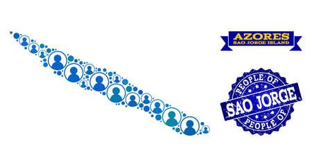 Ilustración de People collage of blue population map of Sao Jorge Island and scratched seal. Vector seal with scratched rubber texture. Mosaic map of Sao Jorge Island constructed with rounded users. - Imagen libre de derechos