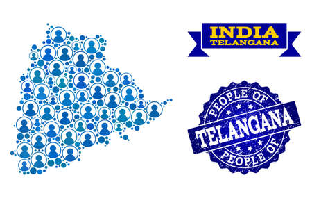 Ilustración de People combination of blue population map of Telangana State and rubber seal. Vector seal with grunge rubber texture. Mosaic map of Telangana State constructed with rounded users. - Imagen libre de derechos