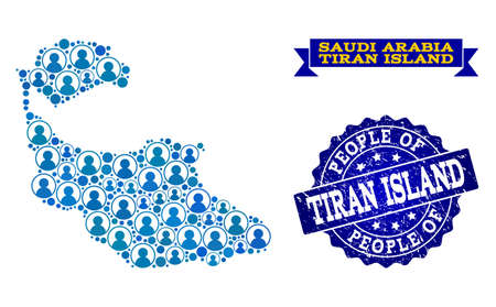 Ilustración de People collage of blue population map of Tiran Island and rubber seal stamp. Vector seal with unclean rubber texture. Mosaic map of Tiran Island designed with rounded users. - Imagen libre de derechos