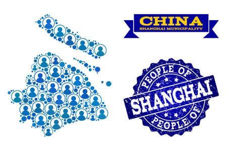 Ilustración de People collage of blue population map of Shanghai Municipality and rubber seal. Vector seal with distress rubber texture. Mosaic map of Shanghai Municipality designed with rounded users. - Imagen libre de derechos