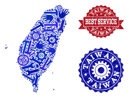 Illustration pour Best service combination of blue mosaic map of Taiwan and textured seals. Mosaic map of Taiwan constructed with cogs, wrenches, hands. Vector seals with unclean rubber texture. - image libre de droit