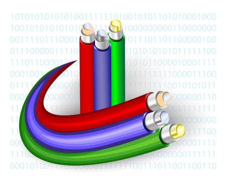 Illustration pour optical fibre. Cable on a binary code background - image libre de droit