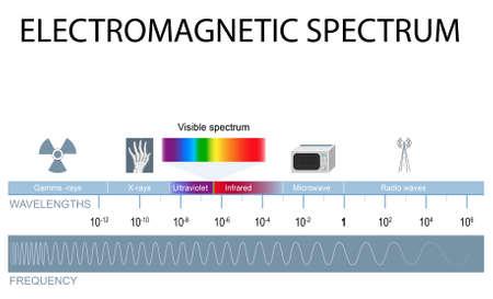 Ilustración de Electromagnetic spectrum. different types of electromagnetic radiation by their wavelengths. In order of increasing frequency and decreasing wavelength - Imagen libre de derechos