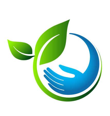 Foto de Green leaves eco hand - Imagen libre de derechos