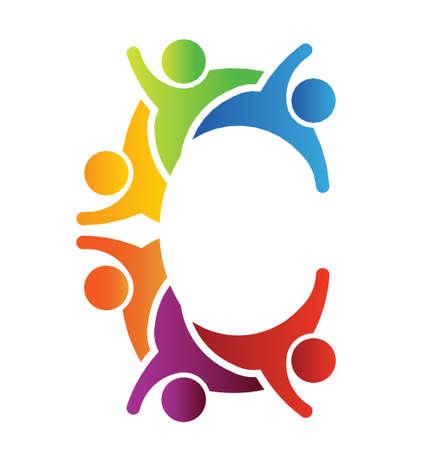 Ilustración de C letter people - Imagen libre de derechos