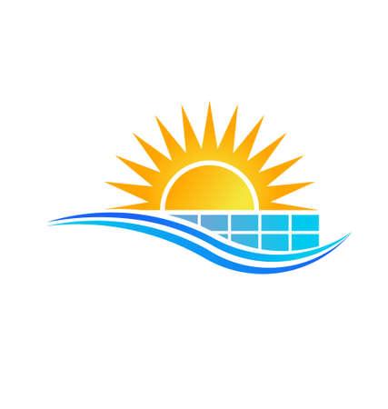Illustration pour Sun with Solar Panel Vector - image libre de droit