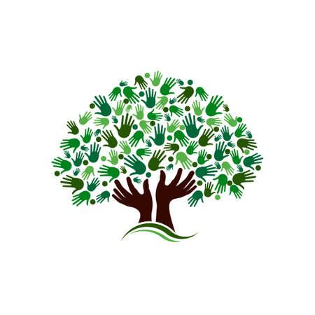 Illustration pour Friendship connection tree image  Hands on hand tree - image libre de droit