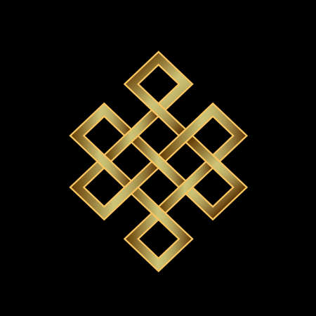 Illustration pour Golden Endless knot  Concept of Karma, Time, spirituality  - image libre de droit