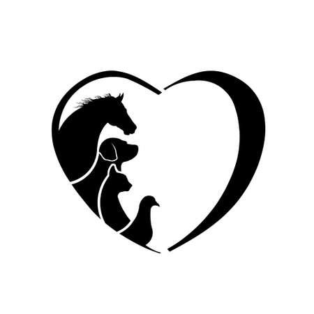 Photo pour Veterinarian Heart Horse love. Abstraction of animal care - image libre de droit