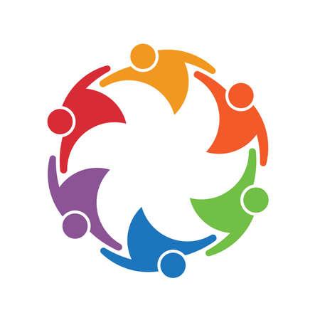 Ilustración de Team work people group of 6 in a circle. Concept of union - Imagen libre de derechos