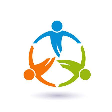 Illustration pour Teamwork in a round. Group of 3 people - image libre de droit