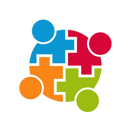 Illustrazione per Teamwork community connection. Group of 4 people. Vector design - Immagini Royalty Free