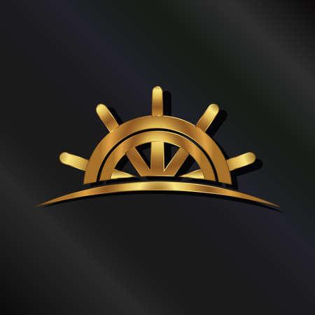 Illustration pour Golden Ship wheel marine - image libre de droit