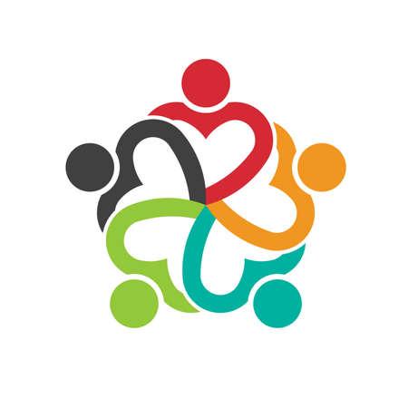 Ilustración de Teamwork 5 heart people social friendship - Imagen libre de derechos