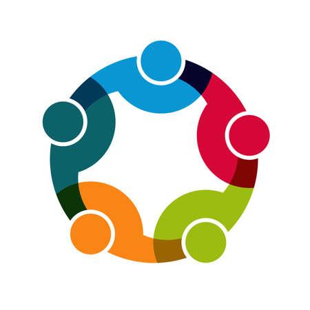 Ilustración de Teamwork Social Network, Group of 5 people business relationship and collaboration. - Imagen libre de derechos