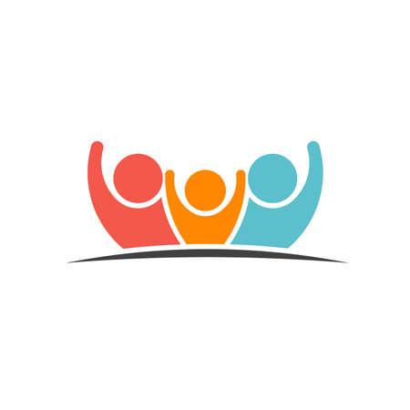 Ilustración de Teamwork Three Friends image. Concept of Group of People, happy team, victory - Imagen libre de derechos