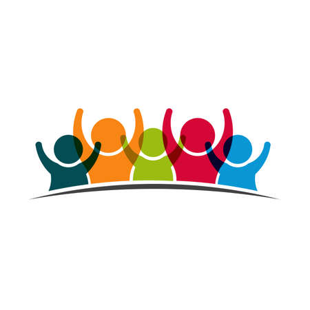Illustrazione per Teamwork Five Friends image. Concept of Group of People, happy team, victory - Immagini Royalty Free