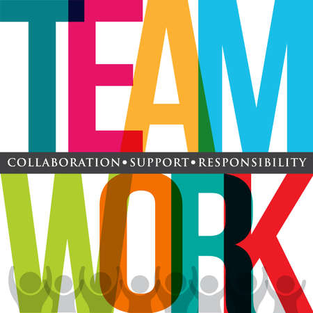 Illustration pour Teamwork typography - image libre de droit