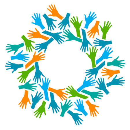 Ilustración de Hands Circle. Concept of teamwork and Community - Imagen libre de derechos