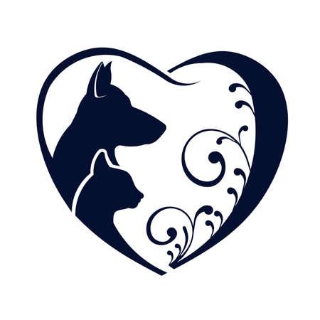 Ilustración de Dog Cat love heart - Imagen libre de derechos