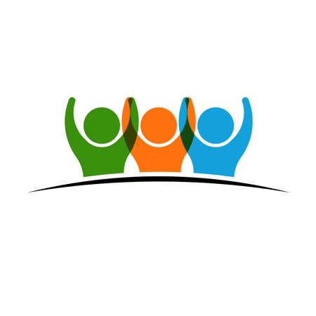 Foto de Three people holding hands. Concept of Group of People, happy team, victory - Imagen libre de derechos