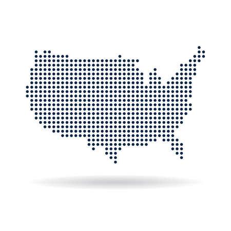 Illustration pour USA dot map. Concept for networking, technology and connections - image libre de droit