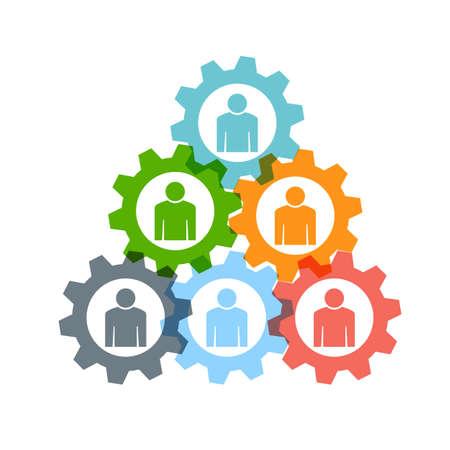 Illustration for Teamwork gear pyramid  - Royalty Free Image
